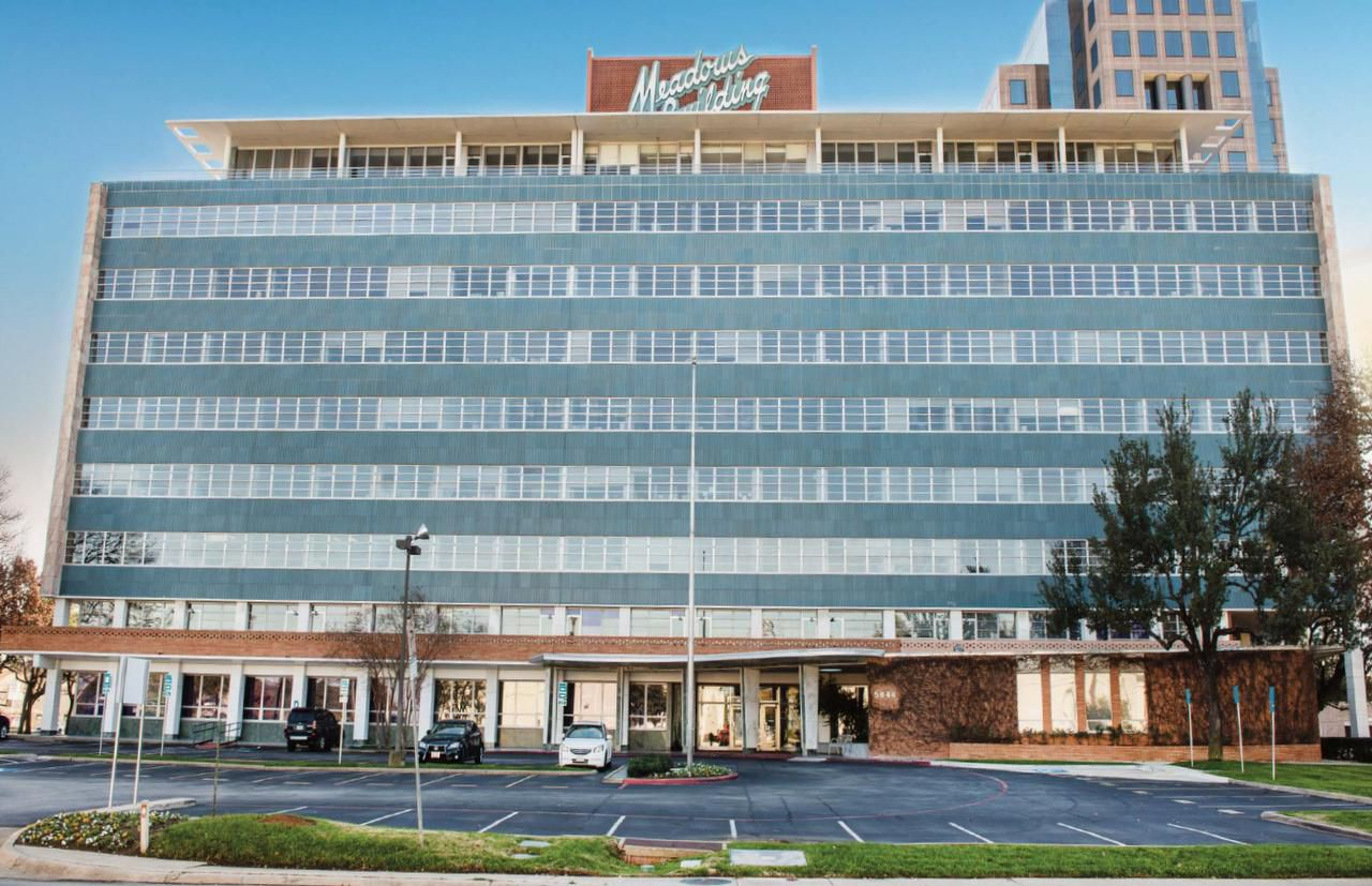 When the Meadows Building opened along North Central Expressway in 1955, the blue tile and red brick building was the first office tower outside of downtown Dallas. The Dallas Landmark Commission voted this week to begin the landmark designation process for the building.