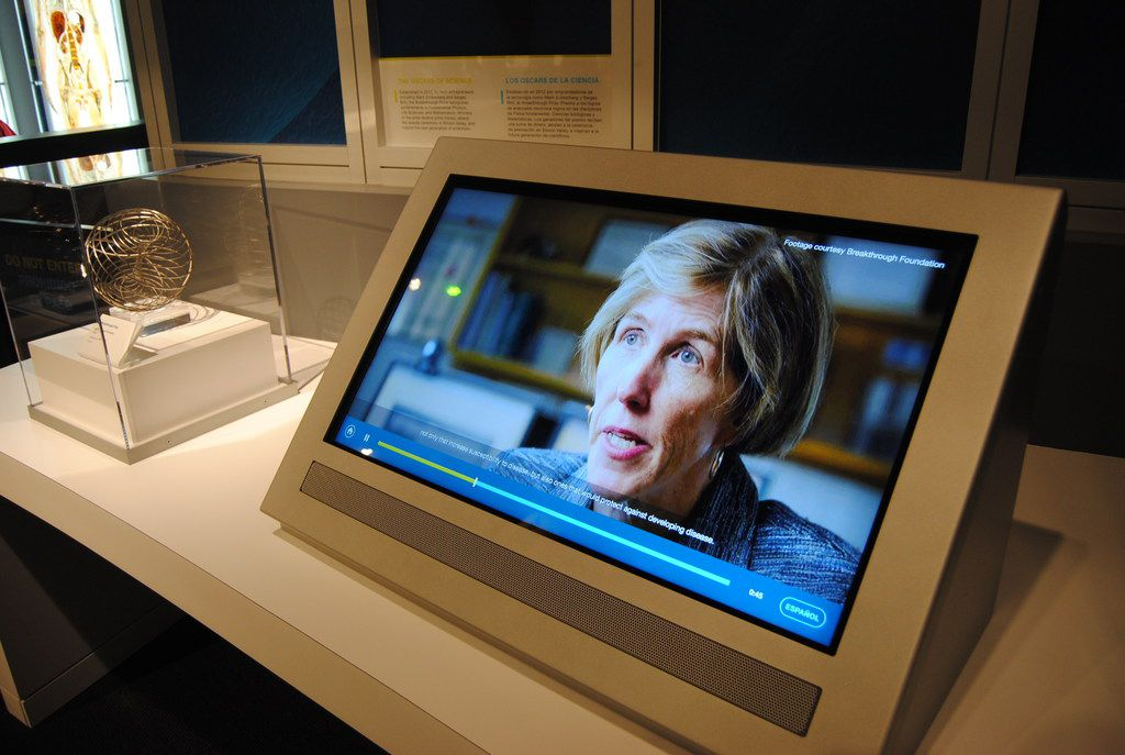 UT Southwestern geneticist Helen Hobbs' research on cholesterol is featured in the Being Human Hall at the Perot Museum of Nature and Science. The Breakthrough Prize in Life Sciences she received in 2016 is on the left.