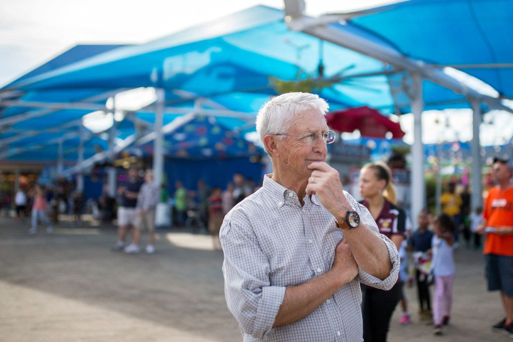 Don Williams, founder of non-profit corporation Foundation for Community Empowerment looks on at the Midway as several students from Paul L Dunbar Elementary School was taken on a field trip visiting the State Fair of Texas for the first time at Fair Park on Oct. 19, 2016 in Dallas.