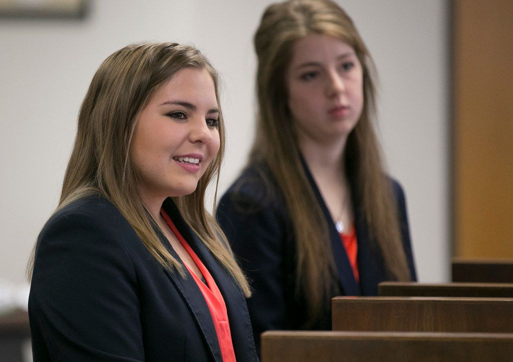 Kara Lehnert, 18, and  Annisa McCollum, 17, both from Sweetwater, speak in favor of keeping Women Airforce Service Pilots (WASP) in the Texas social studies curriculum at the State Board of Education meeting in the William B. Travis Building on Tuesday November 13, 2018.    [JAY JANNER/AMERICAN-STATESMAN]