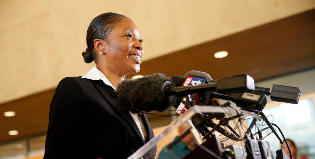U. Renee Hall answers questions from the media during a meet-and-greet with Dallas police chief candidates on July 11 at Dallas City Hall. Hall, who was hired to the post in July, formally begins her duties next week.