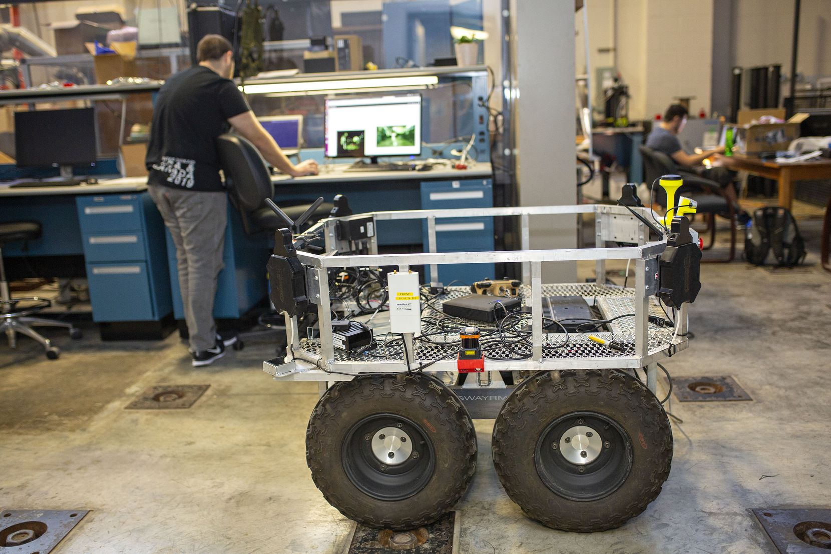 The Army Futures Command branch of the US Army sent a vehicle to the Nuclear and Applied Robotics Group lab at the University of Texas at Austin for the team to work on and develop it into a semi autonomous vehicle that will be able to help transport solider equipment  and do other dangerous tasks that are currently being performed by a person on October 8, 2019 in Austin, Texas. (Thao Nguyen/Special Contributor)