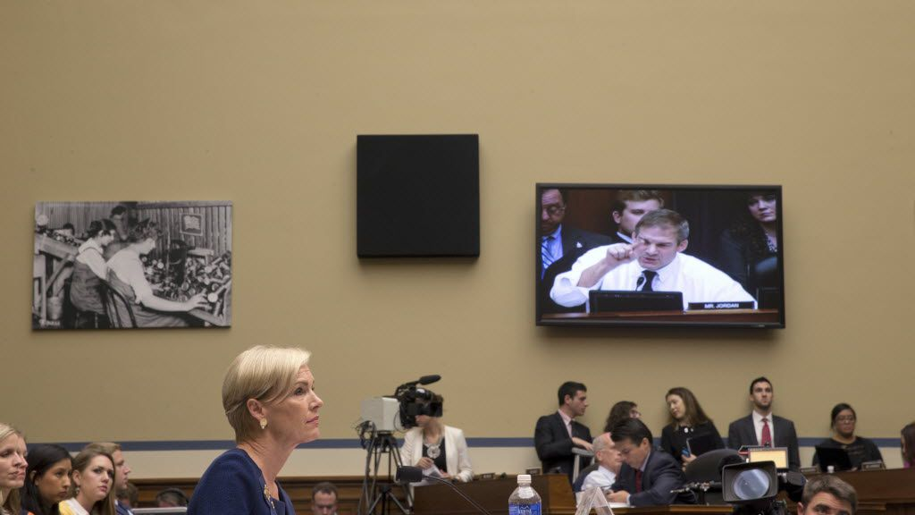 Cecile Richards, the president of Planned Parenthood, listens to an opening statement by Rep. Jim Jordan (R-Ohio) prior to testifying before the House Oversight and Government Reform Committee in Washington, Sept. 29, 2015.