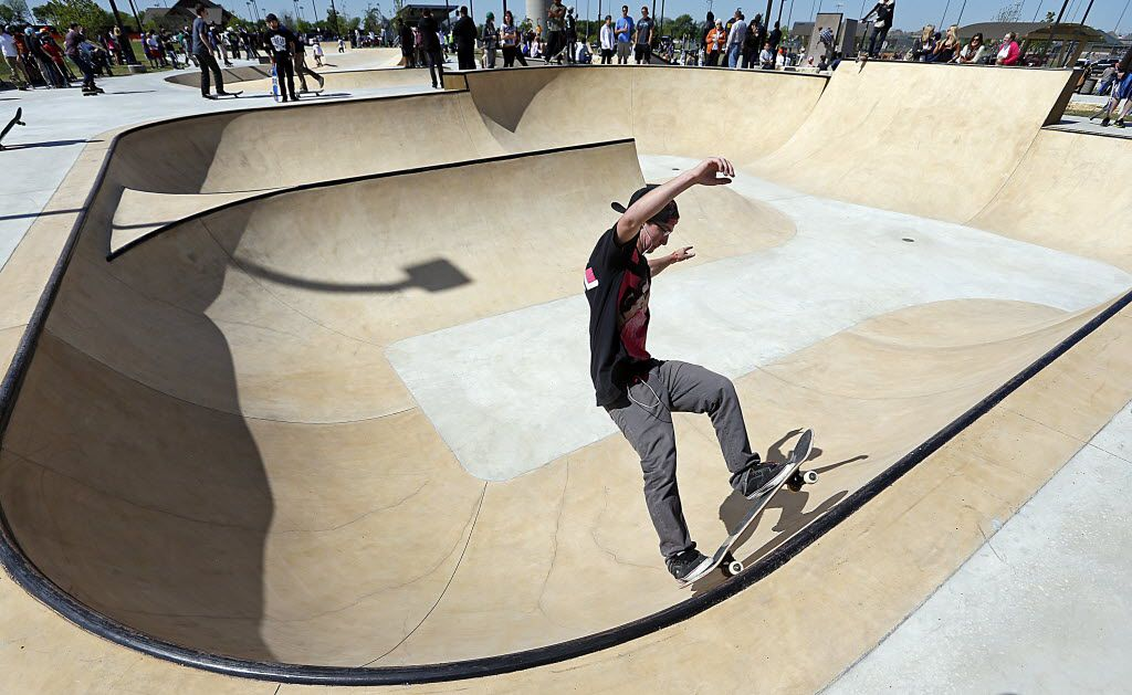 Jarod  Bookout, 16, of Azle practices on his skateboard at the new McKinney Skate Park grand opening in Gabe Nesbitt Community Park in McKinney. (2013 File Photo/The Dallas Morning News)