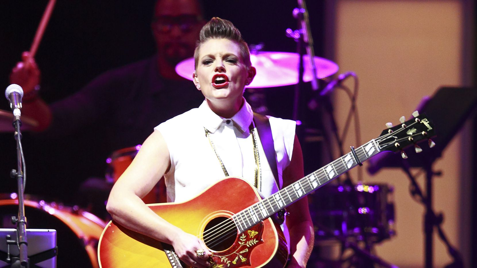 VANCOUVER, BC - OCTOBER 26:  Natalie Maines of the Dixie Chicks performs during the first show of their Long Time Gone tour at Rogers Arena on October 26, 2013 in Vancouver, British Columbia, Canada.
