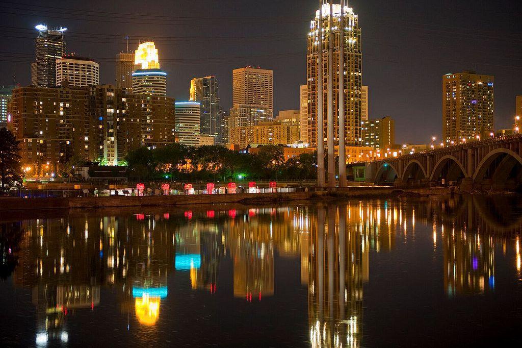 The Minneapolis skyline shines at night.