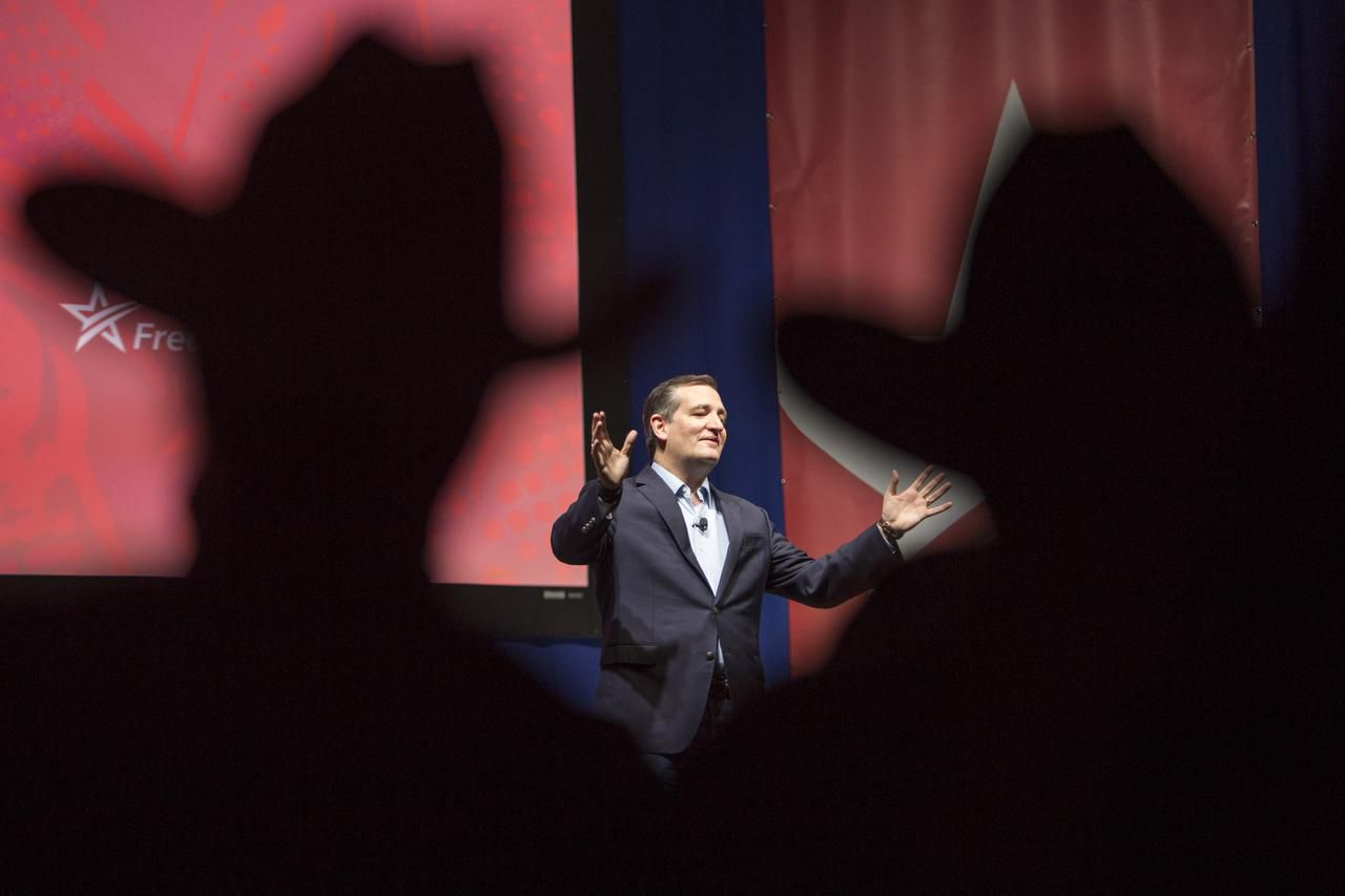 Sen. Ted Cruz was joined on stage by his wife, Heidi, and daughters Catherine (left), 4, and Caroline, 6, after announcing his presidential candidacy Monday to a friendly audience at Liberty University in Lynchburg, Va.