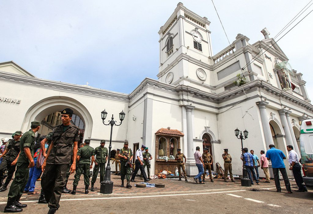 COLOMBO, SRI LANKA - APRIL 21: Sri Lankan security forces secure the area around St. Anthony's Shrine after an explosion hit St Anthony's Church in Kochchikade on April 21, 2019 in Colombo, Sri Lanka. At least 207 people have been killed and hundreds more injured after multiple explosions rocked three churches and three luxury hotels in and around Colombo as well as at Batticaloa in Sri Lanka during Easter Sunday mass.