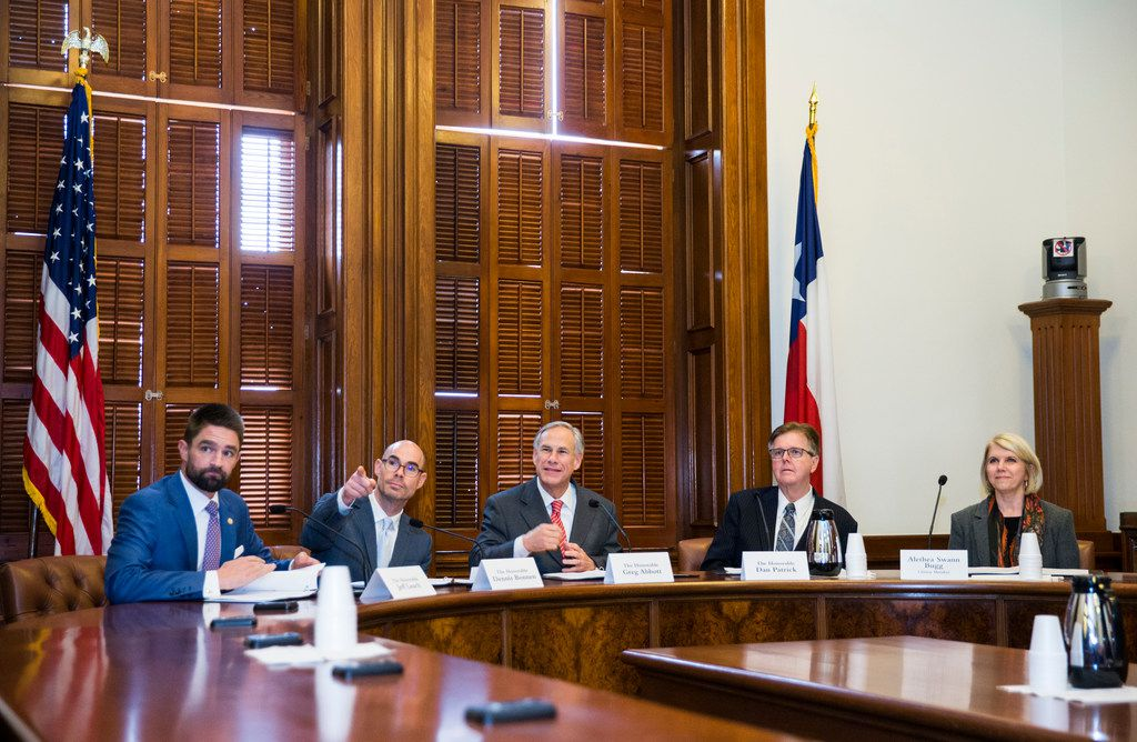 The State Preservation Board votes to remove a Children of the Confederacy plaque that is displayed in the Texas state capital on the fourth day of the 86th Texas legislature on Friday, January 11, 2019 at the Texas state capital in Austin, Texas. Members of the State Preservation Board are, from left, Representative Jeff Leach, Speaker of the House Dennis Bonnen, Governor Greg Abbott, Lt. Governor Dan Patrick and Alethea Swann Bugg.