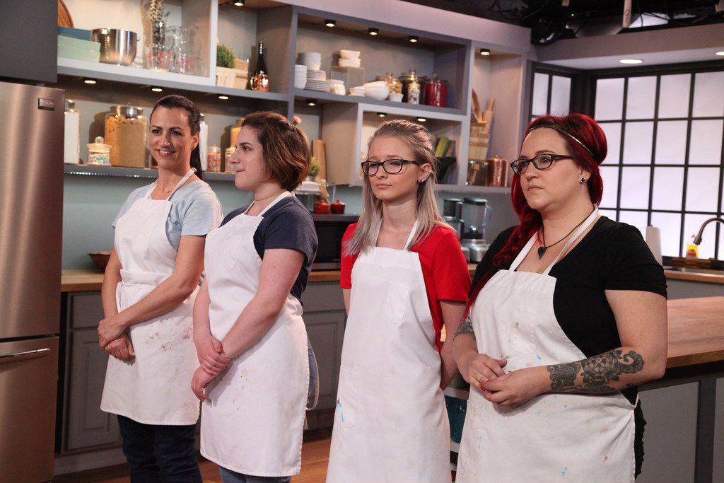 The episode of Bake It Like Buddy, premiering Saturday, Sept, 29, 2018, features Frisco mother-daughter duo Audrey and Ryan McGinnis (far left) baking against Arizona mother-daughter duo Chelsi and Jade Reynolds.