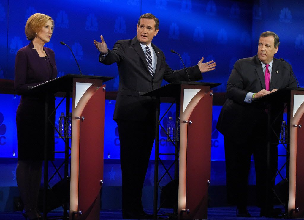 Ted Cruz talks about the mainstream media as Carly Fiorina and Chris Christie look on during a Republican presidential debate at the University of Colorado last October.