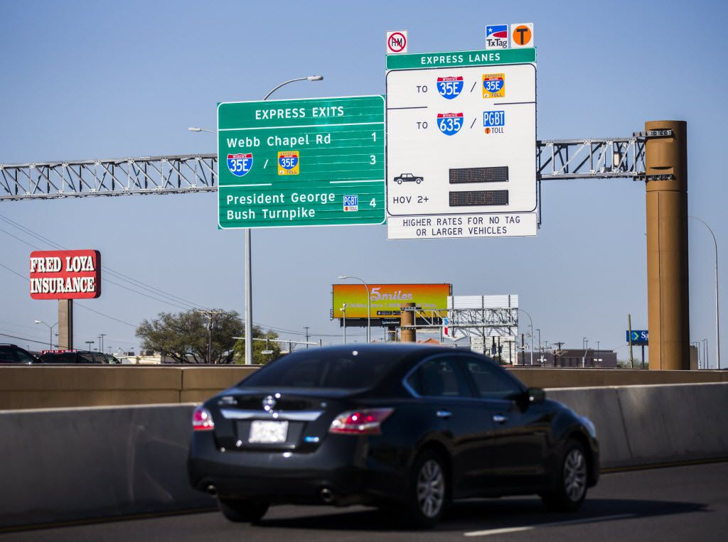 Motorists drive west on LBJ Freeway at the entrance of the TEXpress toll lanes on Tuesday, March 15, 2016, near Marsh Lane in Dallas.