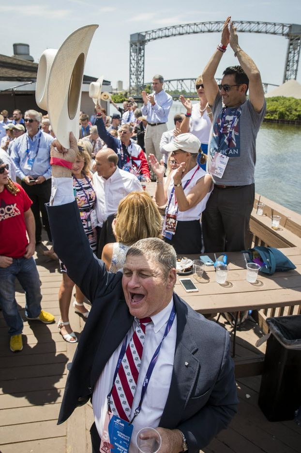 Supporters cheer as Texas Sen. Ted Cruz on the third day of the Republican National Convention on Wednesday, July 20, 2016, in Cleveland. (Smiley N. Pool/The Dallas Morning News)