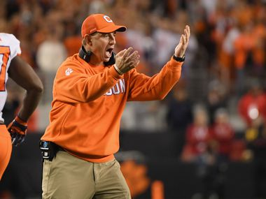 SANTA CLARA, CA - JANUARY 07:  Head coach Dabo Swinney of the Clemson Tigers reacts against the Alabama Crimson Tide in the CFP National Championship presented by AT&T at Levi's Stadium on January 7, 2019 in Santa Clara, California.  (Photo by Harry How/Getty Images) ORG XMIT: 775241470