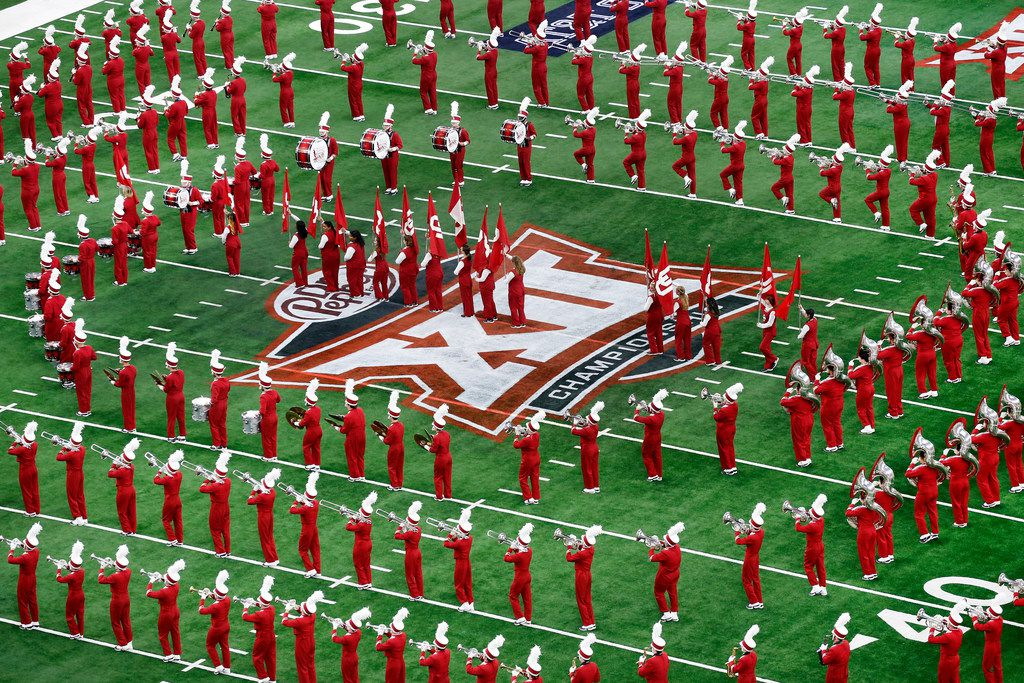 The Oklahoma Sooners marching band performs before the Big 12 Championship at AT&T Stadium in Arlington, Texas, Saturday, December 1, 2018. (Tom Fox/The Dallas Morning News)