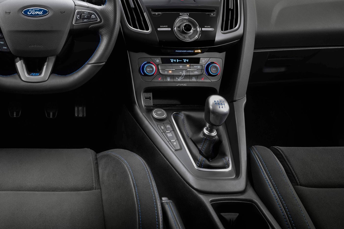 The interior of the 2017 Ford Focus RS comes standard with tilt steering wheel, leather-wrapped steering wheel, dual power point plug-ins and 60-40 split rear seats.