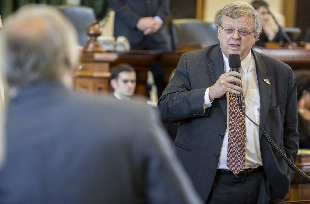 Sen. Paul Bettencourt debates tax cuts with Sen. Kirk Watson on the senate floor on Wednesday, March 25, 2015, in Austin, Texas. (AP Photo/Austin American-Statesman, Ricardo B. Brazziell)