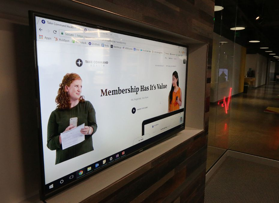 A look at the website at the offices of Take Command Health in downtown Dallas. The business is a start-up founded in 2014 to help people navigate the fine print while health insurance shopping. Photographed on Tuesday, May 16, 2017. (Louis DeLuca/The Dallas Morning News)