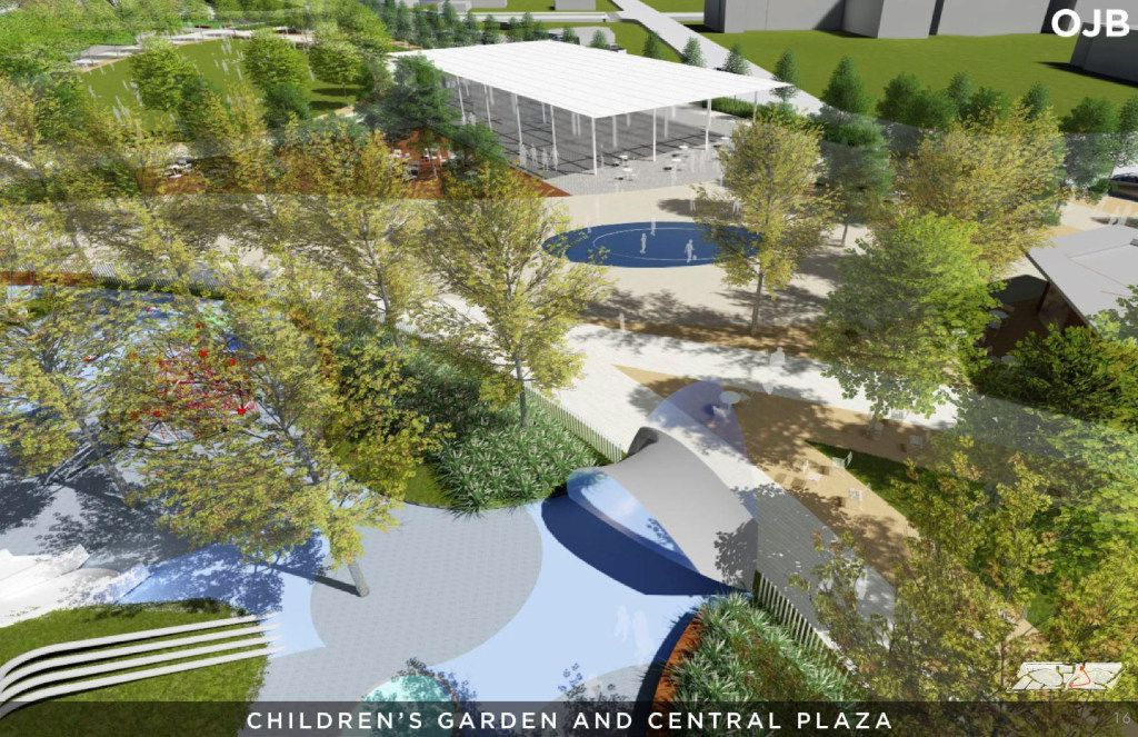 The children's garden and central plaza are shown in a rendering from a Conceptual Plan for the Southern Gateway Public Green, a deck park over I-35E from S. Marsalis Avenue to S. Ewing Avenue, adjacent to the Dallas Zoo.