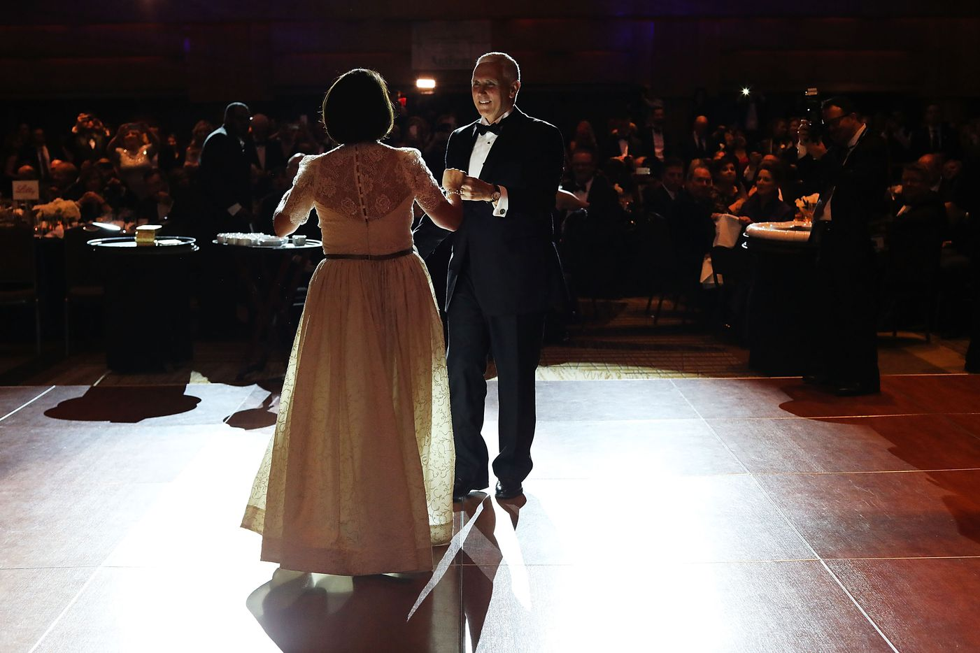 WASHINGTON, DC - JANUARY 19:  Vice President-elect Mike Pence and his wife Karen Pence take the first dance at the Indiana Society Ball on January 19, 2017 in Washington, DC. Washington and the entire nation is preparing for the transfer of the United States presidency tomorrow as Donald Trump is sworn in as the 45th president January 20.  (Photo by Spencer Platt/Getty Images)