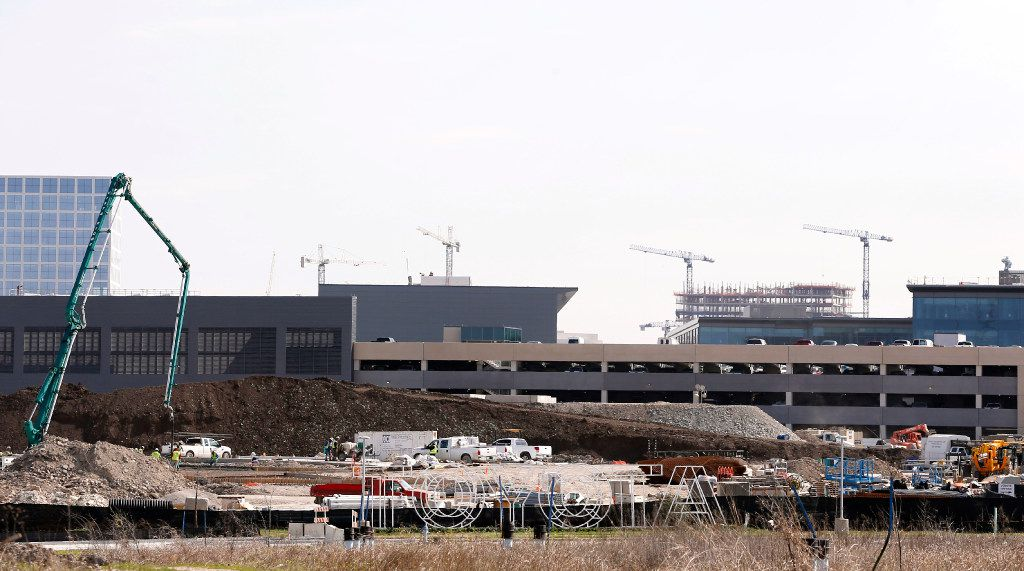 Construction continues at the new Toyota headquarters in Plano on Wednesday, March 8, 2017. (Vernon Bryant/The Dallas Morning News)