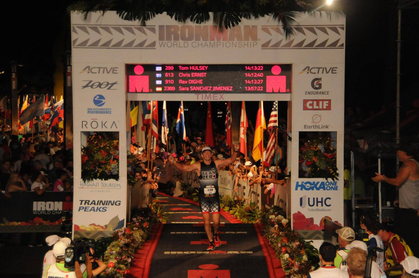 Tom Hulsey completes the Ironman World Championship in Kona, Hawaii.