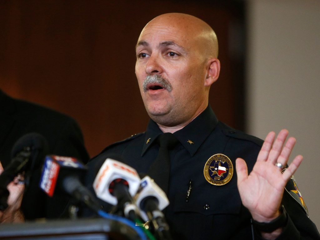 Balch Springs Police Chief Jonathan Haber spoke at a news conference in May after the shooting death of Jordan Edwards. Haber's actions from before he became police chief are the subject of a lawsuit against him and another officer, Sgt. James Young.