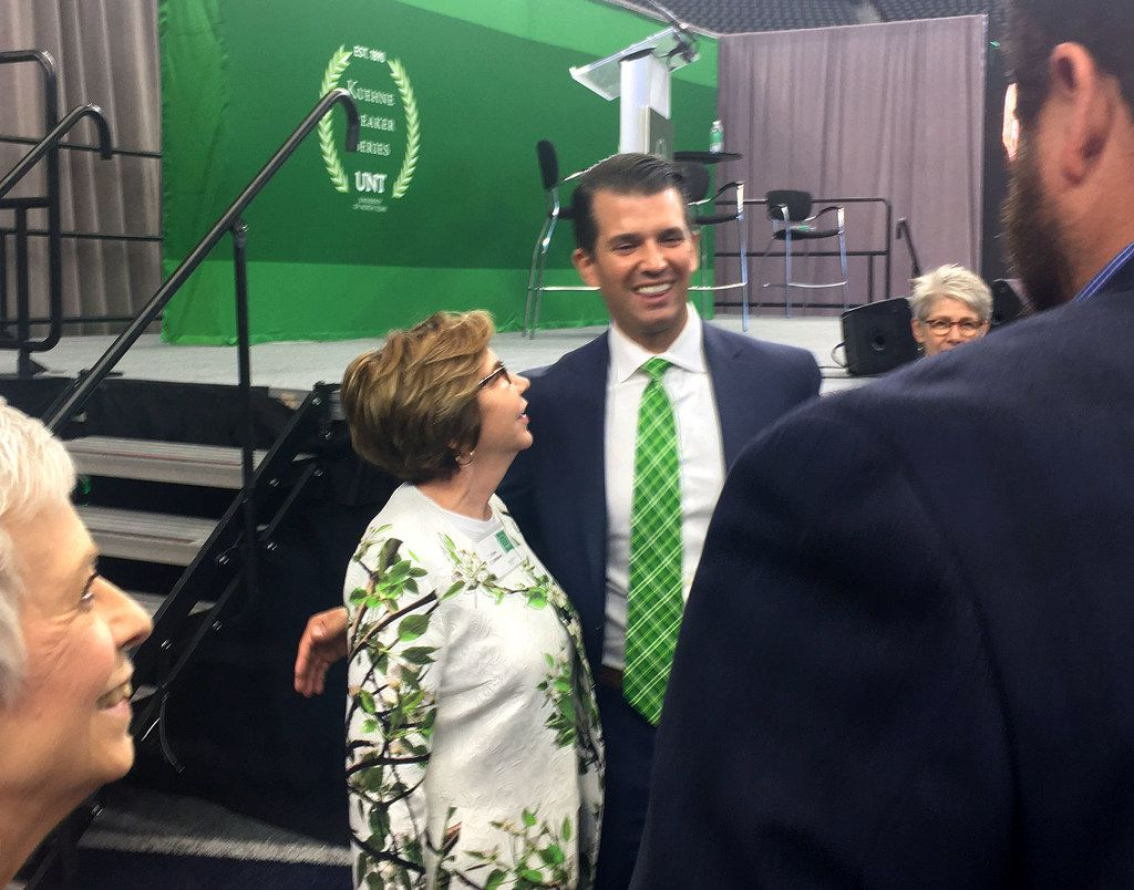 Donald Trump Jr. speaks with guests following his speech at the University of North Texas' Kuehne Speaker Series event Tuesday at AT&T Stadium in Arlington, on Tuesday, Oct. 24, 2017.
