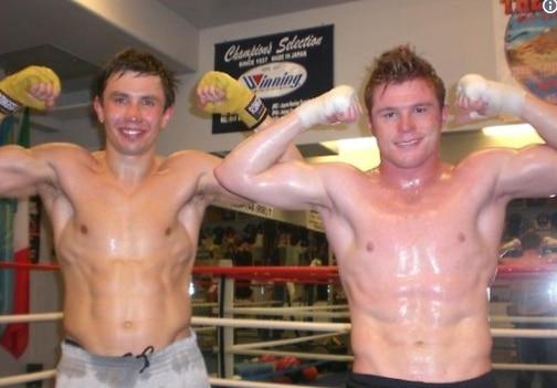 Cuando Saúl 'Canelo' Álvarez (der.) y Gennady 'GGG' Golovkin hicieron sparring juntos en 2011. Foto de Twitter
