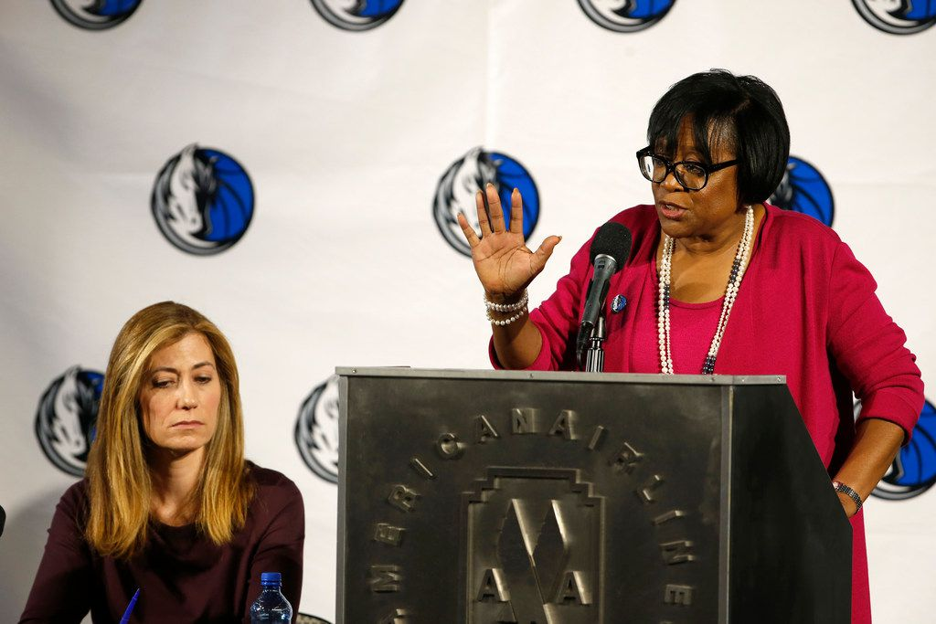 Cynt Marshall, CEO, Dallas Mavericks, (right) and Anne Milgram, Special Counsel, Lowenstein Sandler LLP, talk about the study of sexual harassment and culture in the Dallas Mavericks corporate offices at American Airlines Center in Dallas on Sept. 1, 2018.  (Nathan Hunsinger/The Dallas Morning News)