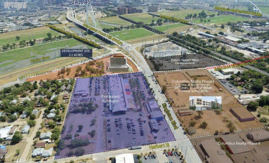 The 3.1-acre office development site is near the foot of the Margaret Hunt Hill Bridge on Singleton Boulevard. (HFF)