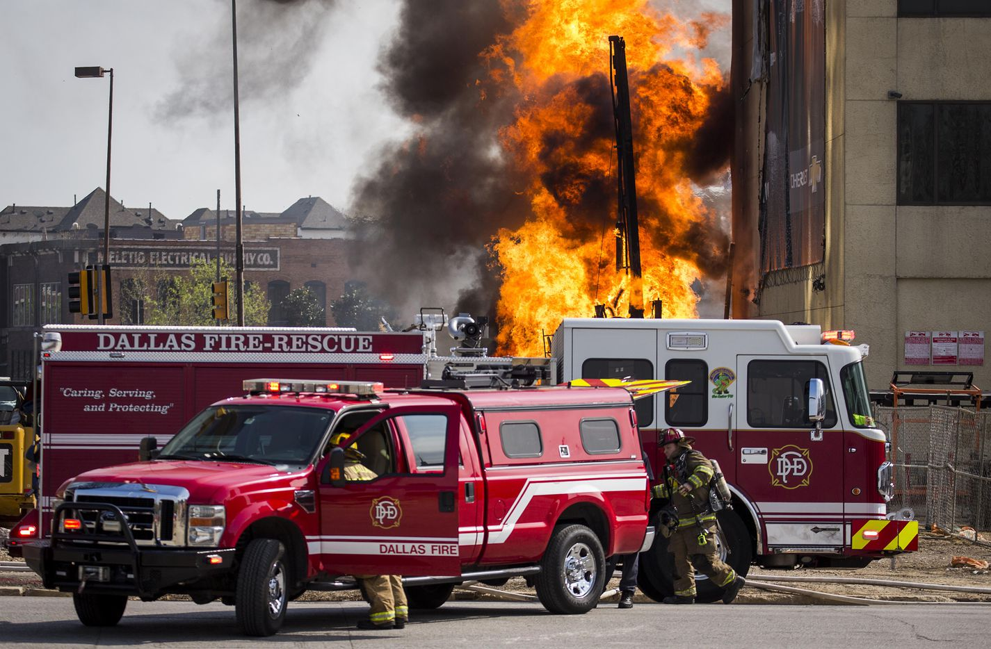 Dallas Fire-Rescue responds to the scene of a fire in the 2100 block of Main Street, where an unspecified company struck a gas line on Friday, March 10, 2017, in Dallas.