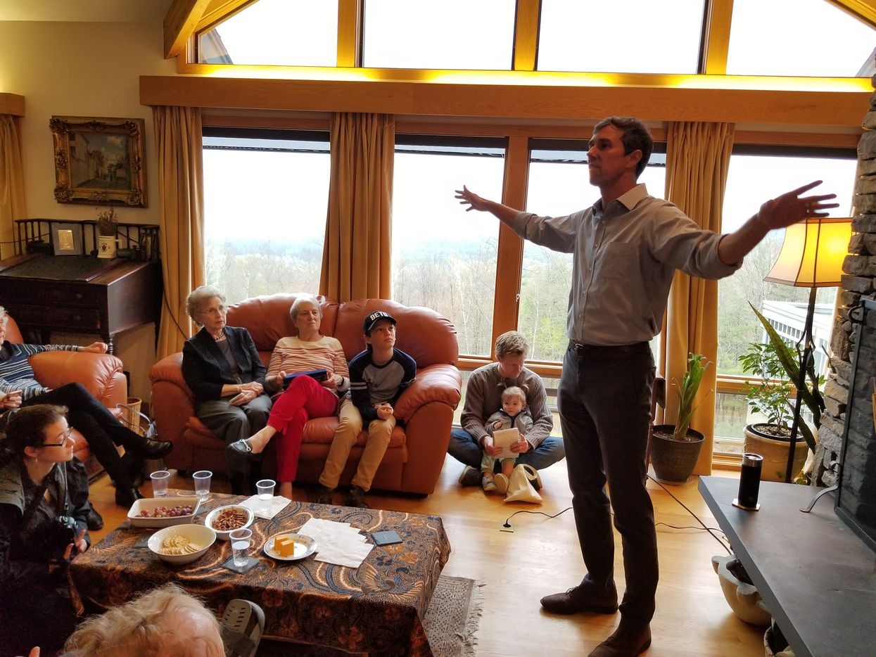 Beto O'Rourke stumps at a house party in Lebanon, N.H., on May 10, 2019.