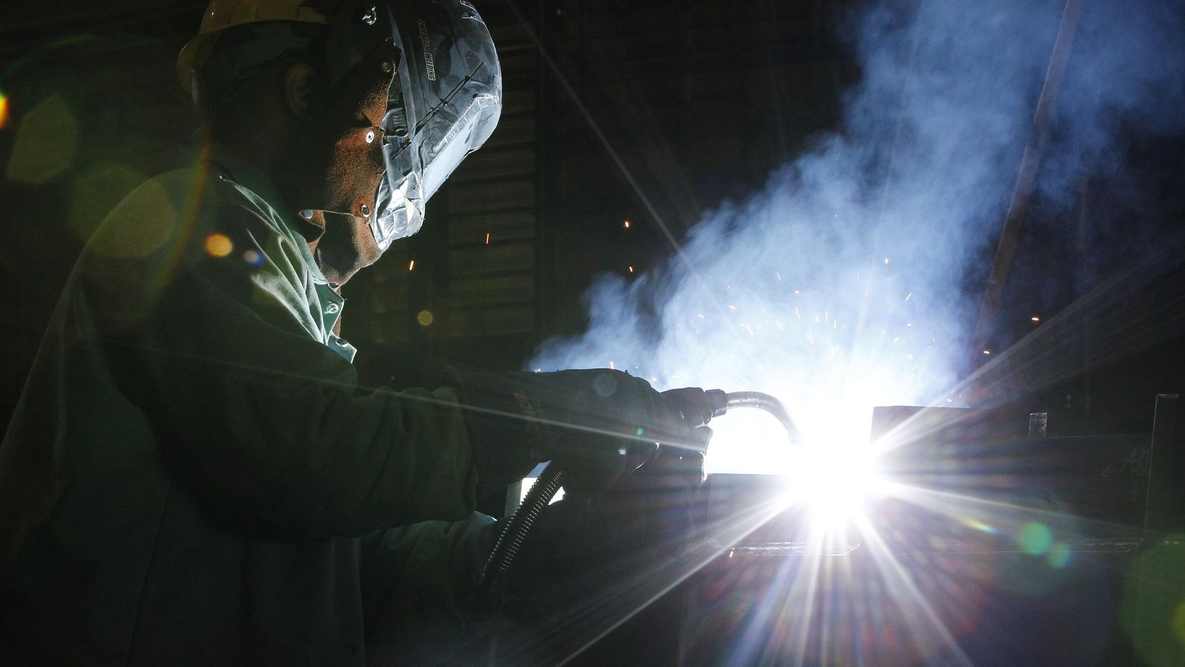 David Allen a welder at Signal Metals Industries welds a tundish on Friday, May 2, 2014 in Irving, Texas. A tundish is a reservoir into which molten steel is poured from the steelmaking ladle in a continuous casting process. (David Woo/The Dallas Morning News)
