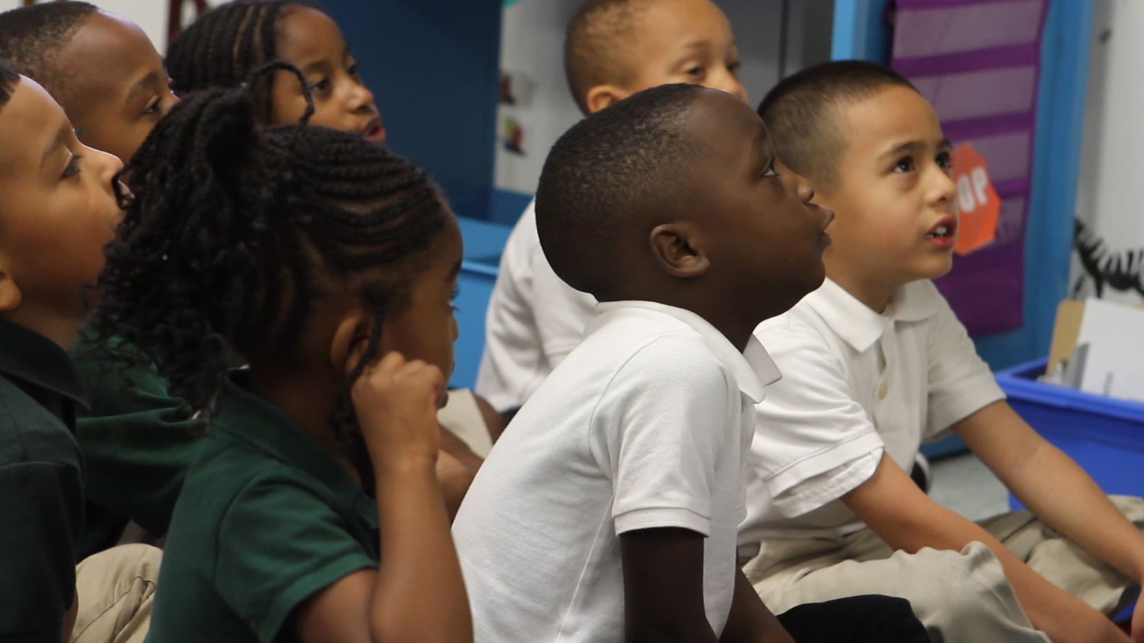 Students react to their teacher's instructions in a classroom at Harllee Early Childhood Center on Tuesday March 28, 2017.