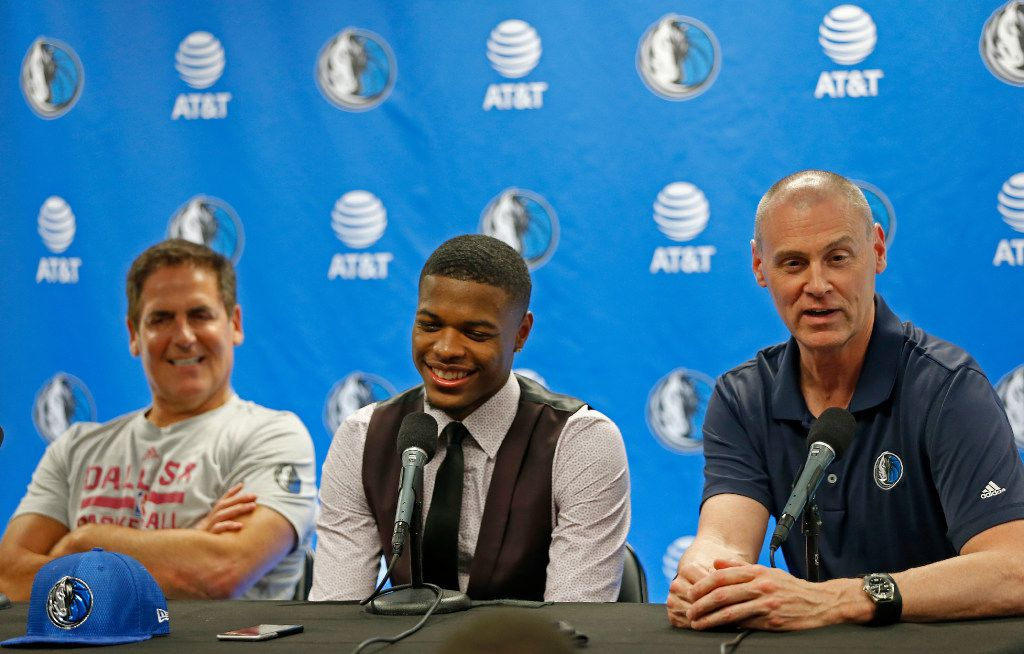 Mavericks Head Coach Rick Carlisle (right) answers questions next to the team's first round pick Dennis Smith Jr. (center) and owner Mark Cuban during a press conference at American Airline Center in Dallas, Friday, June 23, 2017. (Jae S. Lee/The Dallas Morning News)