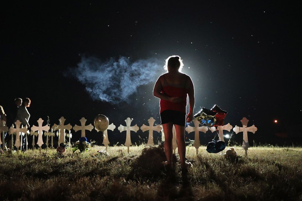 SUTHERLAND SPRINGS, TX - NOVEMBER 06: (One of a 115-image Best of Year 2017 set)   Twenty-six crosses stand in a field on the edge of town to honor the 26 victims killed at the First Baptist Church of Sutherland Springs on November 6, 2017 in Sutherland Springs, Texas. Yesterday a gunman, Devin Patrick Kelley, shot and killed the 26 people and wounded 20 others when he opened fire during a Sunday service.