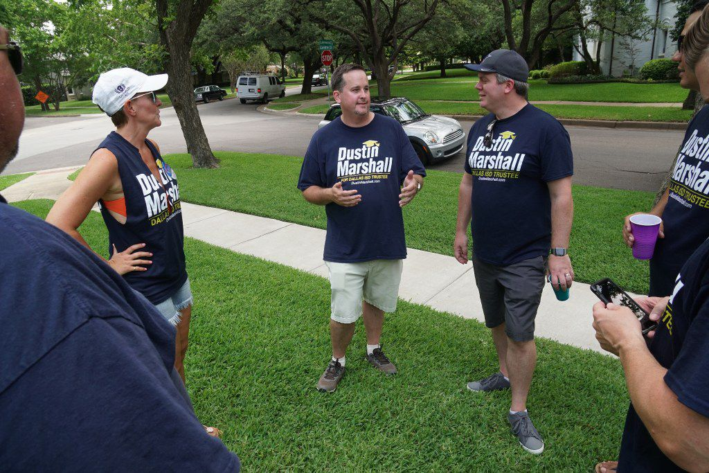Dallas ISD Trustee candidate Dustin Marshall spends time with supporters in Lakewood on Saturday, June 10, 2017. Marshall is in a runoff election against Lori Kirkpatrick.
