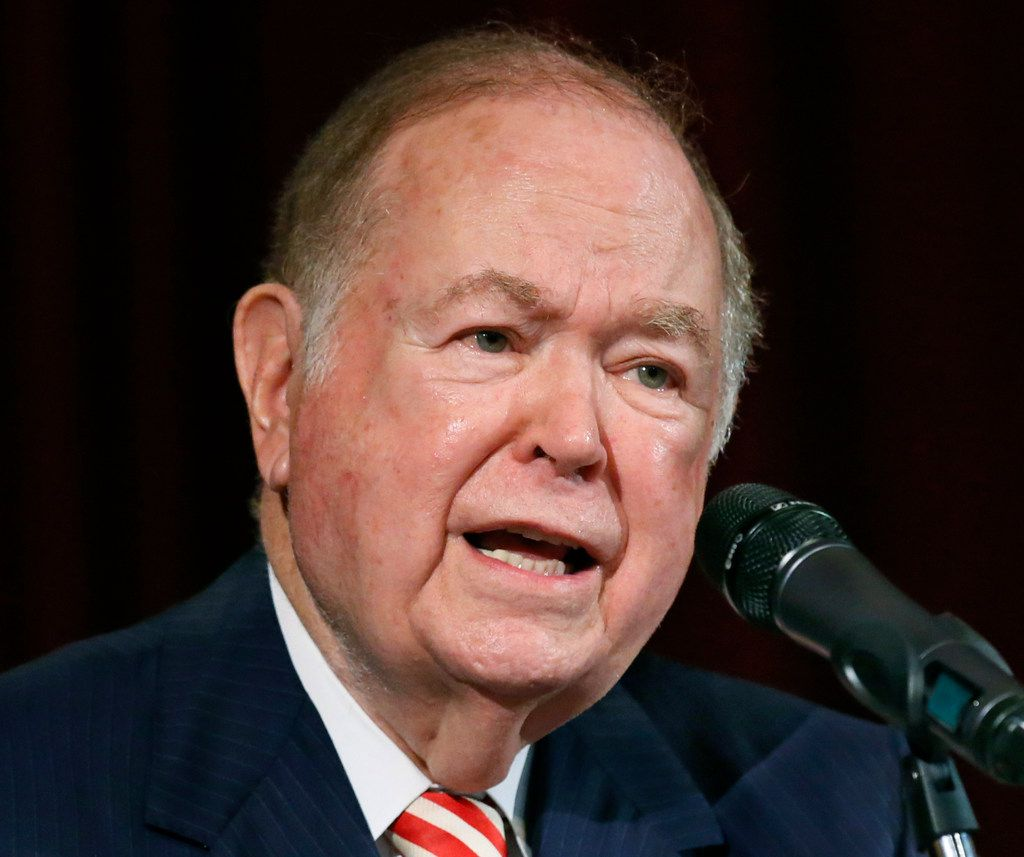 FILE - In this Sept. 20, 2017, file photo, then University of Oklahoma President David Boren, a former Democratic governor and U.S. senator, speaks at a news conference in Norman, Okla. Joseph Harroz Jr. has been named the University of Oklahoma's interim president following the sudden resignation of James L. Gallogly, who'd served less than a year in that role after taking over for longtime former president Boren. (AP Photo/Sue Ogrocki, File)