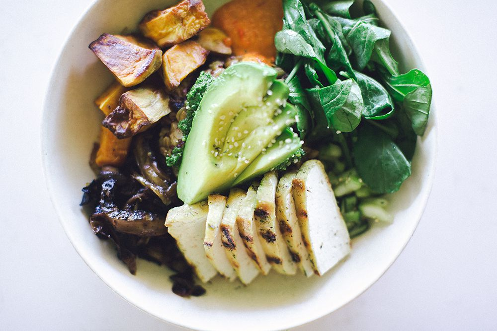 Flower Child's Mother Earth bowl is made with grains, sweet potato, portobello mushroom, avocado, cucumber, broccoli pesto, greens, red pepper miso vinaigrette and hemp seed. The restaurant, which sells good-for-you food, is expected to open in March 2017 in Dallas.