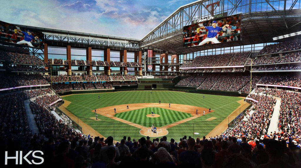 A digital rendering shows the view from the behind home plate on the main concourse of the Texas Rangers new Globe Life Field in Arlington, Texas, Monday, May 6, 2019. The new Daktronics right field video display measuring 58 by 150 feet hangs from the east roof truss. A smaller left field display measures 40 by 111 feet. (HKS)