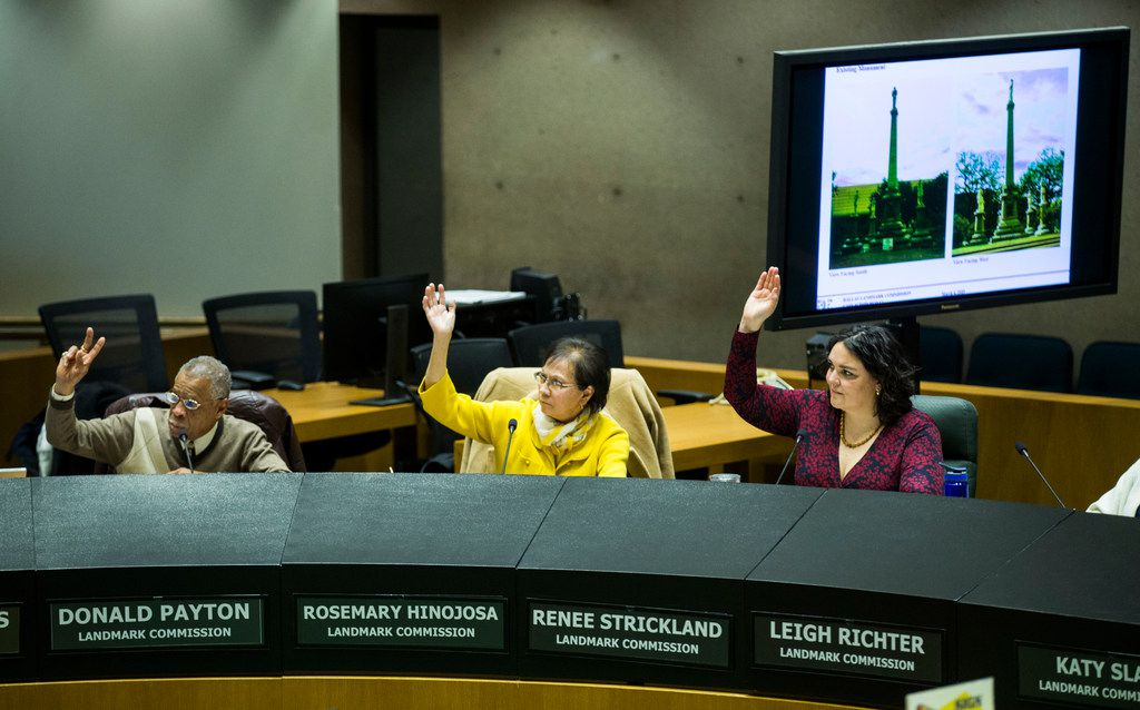 The Dallas Landmark Commission votes to remove the Confederate War Memorial in front of the downtown convention center on Monday, March 4, 2019 at Dallas City Hall. (Ashley Landis/The Dallas Morning News)