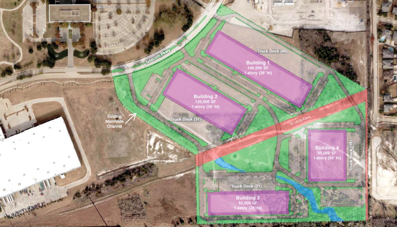 JacksonShaw wants to develop a 4-building industrial park in Richardson.
