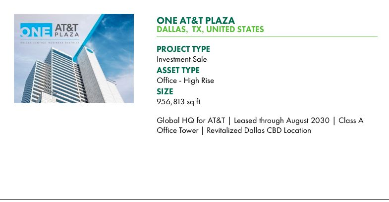 CBRE is advertising the AT&T tower for sale to investors on its marketing website.