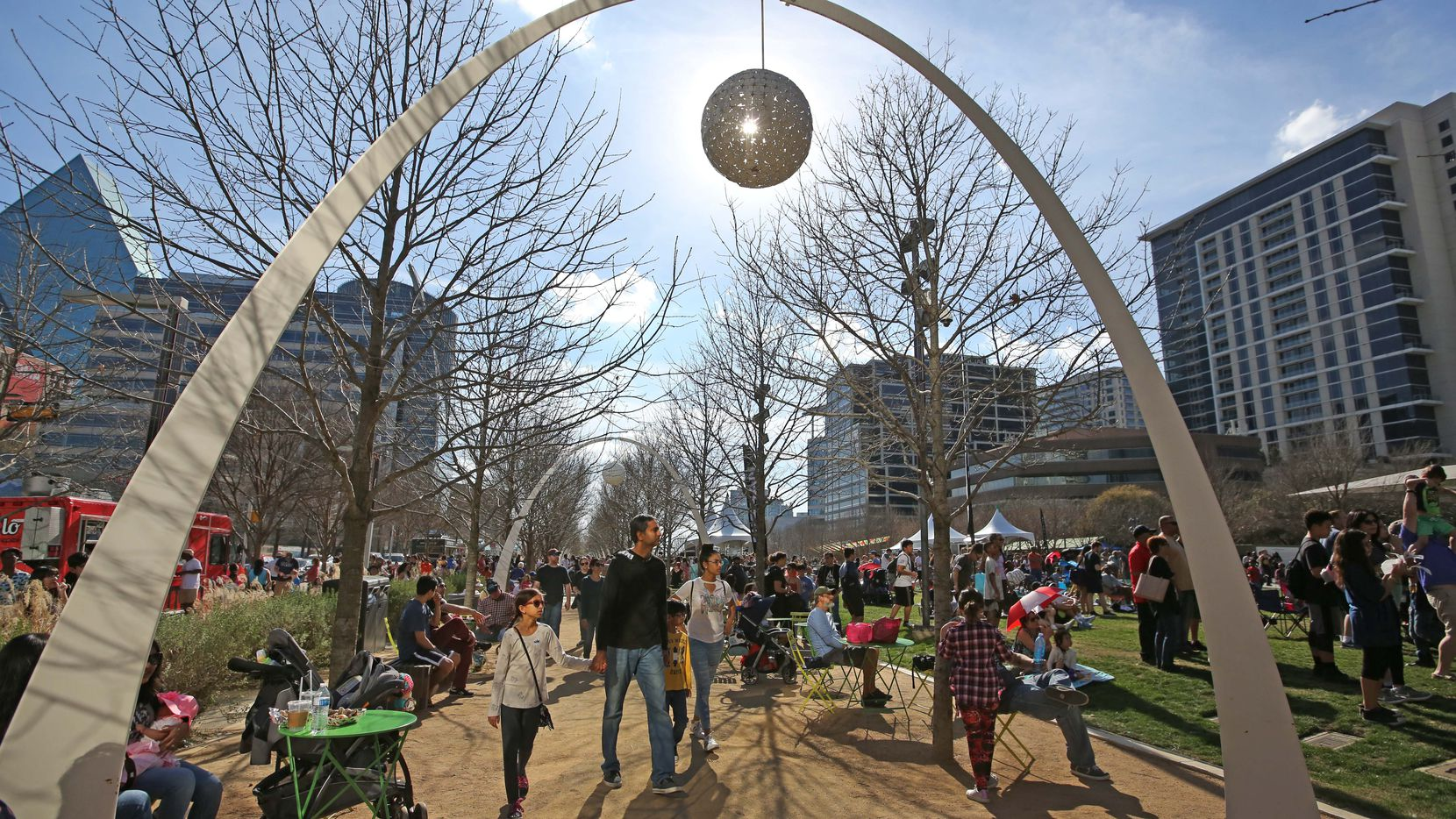 """Families took advantage of mild temperatures to enjoy the outdoors during """"Spring Fling"""" festivities at Klyde Warren Park in downtown Dallas in March 2018."""