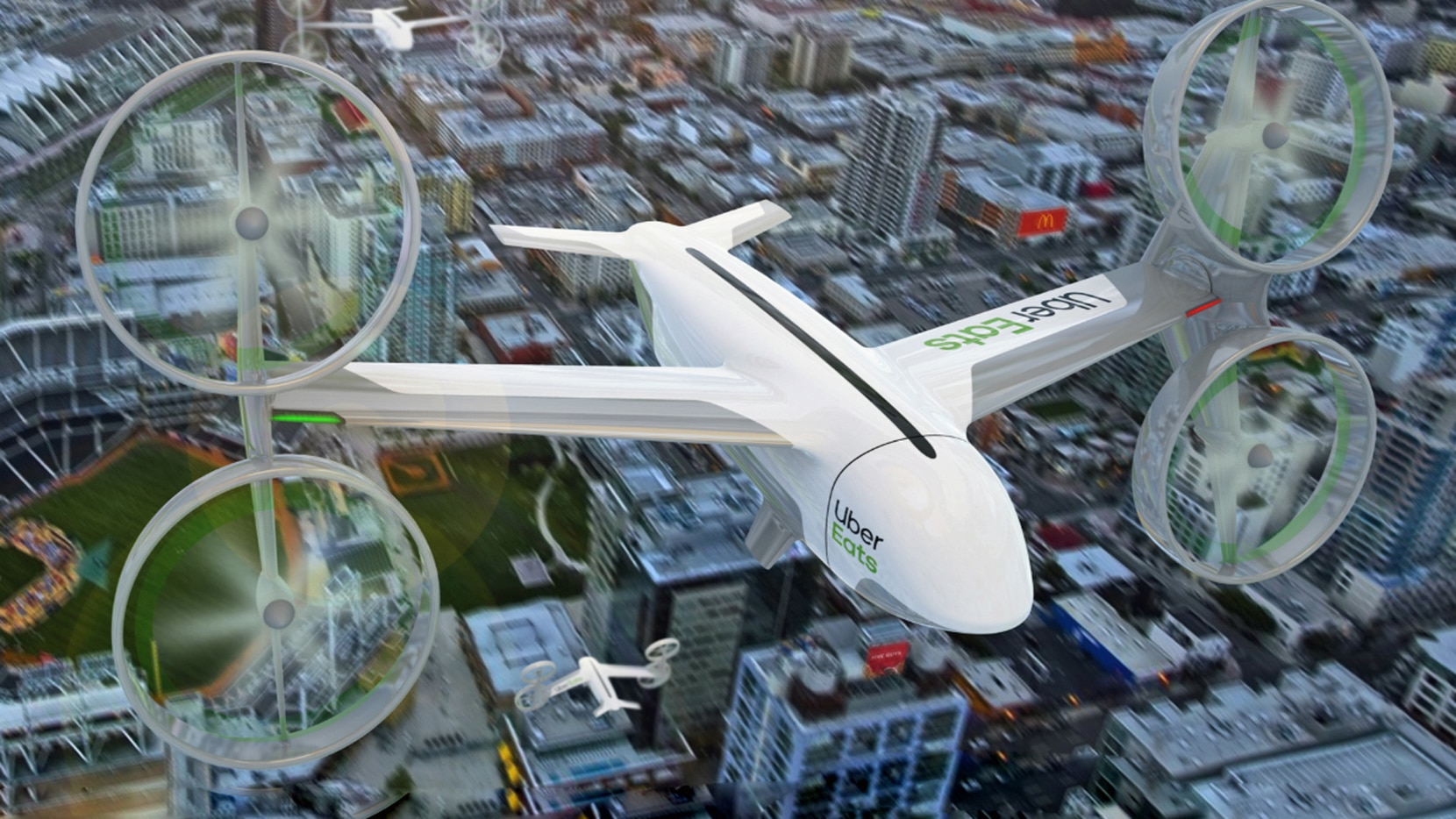 Uber is working with companies, including AT&T, to launch an urban air taxi service that could shuttle people and cargo through the skies.