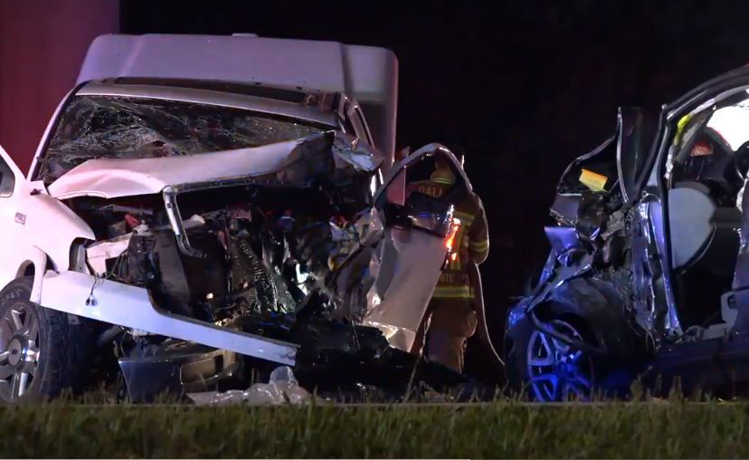 A pickup and an SUV suffered extensive damage after they collided Friday night in northwest Dallas in a crash that sent at least five people to hospitals.