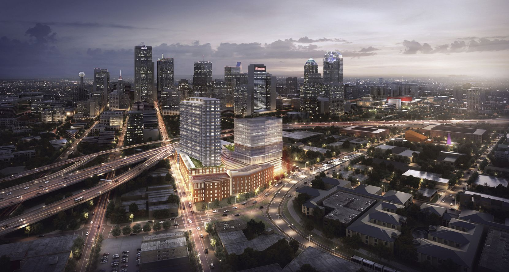 The 8-acre Epic project includes the new Kimpton Hotel, an office tower and apartment high-rise