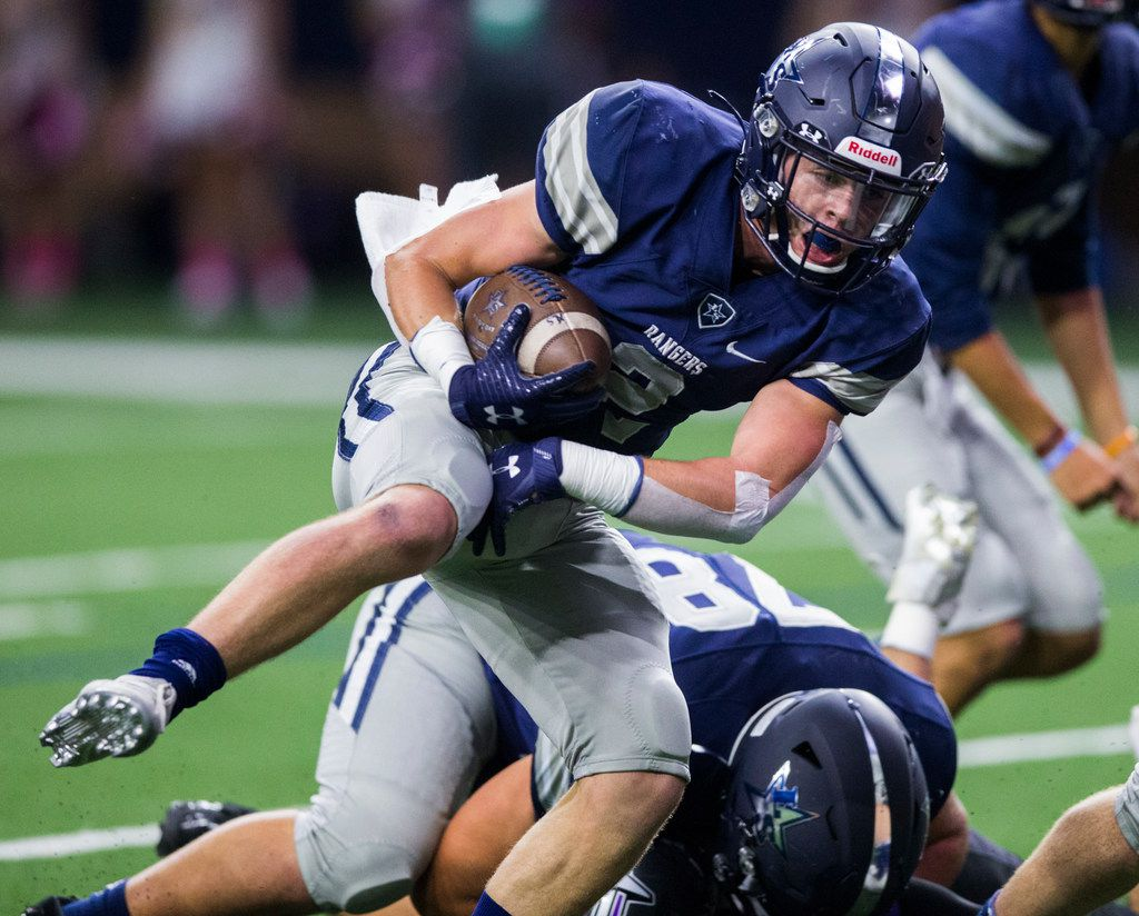 Frisco Lone Star wide receiver Jake Bogdon (2) runs to the end zone for a touchdown during the first quarter of a District 5-5A Division I high school football game between Frisco Independence and Frisco Lone Star on Thursday, October 10, 2019 at the Ford Center at The Star in Frisco. (Ashley Landis/The Dallas Morning News)
