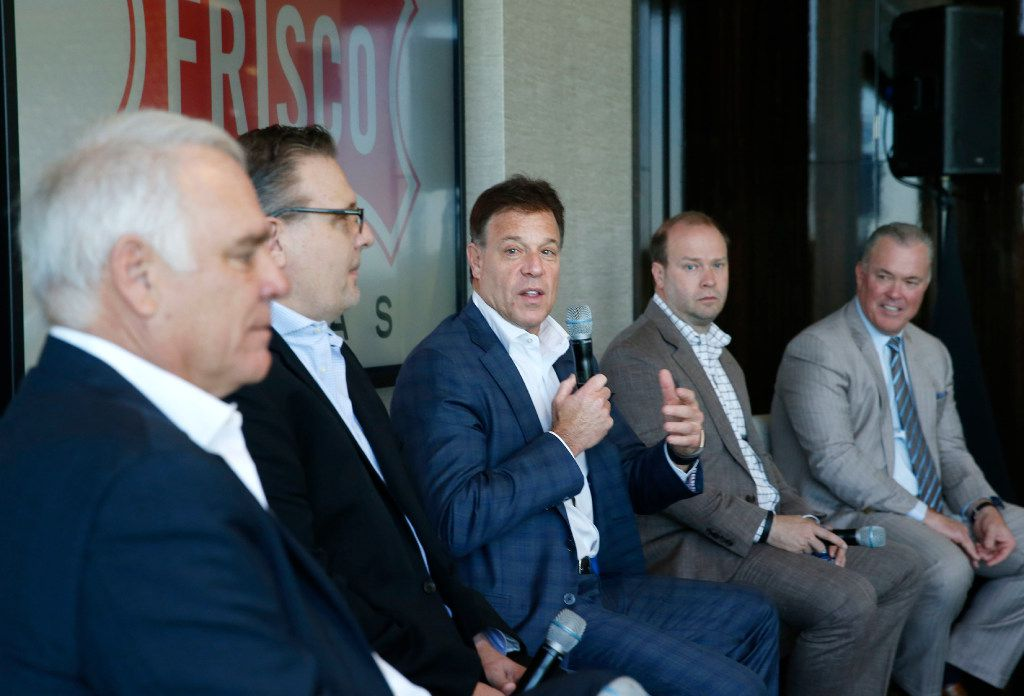 Frisco RoughRiders CEO Chuck Greenberg talks during a panel discussion at the U.S. Conference of Mayors Professional Sports Alliance at The Star in Frisco on April 7.